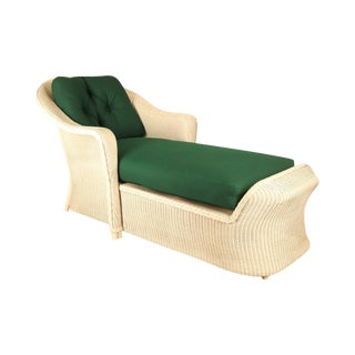 LLoyd Flanders Reflection White Loom Wicker Patio Porch Chaise Lounge For Sale