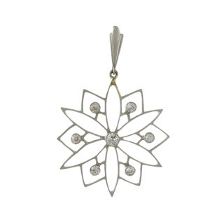 Edwardian Platinum Diamond Snowflake Pendant For Sale