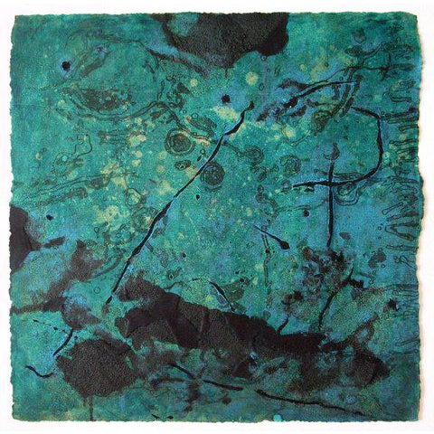 "Hanne Niederhausen Niederhausen Monoprint on Paper ""Aqueous"", Teal and Black Abstract For Sale - Image 4 of 4"