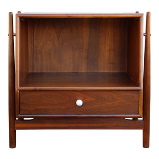 Drexel Declaration Mid-Century Modern Walnut Nightstand / Side Table For Sale
