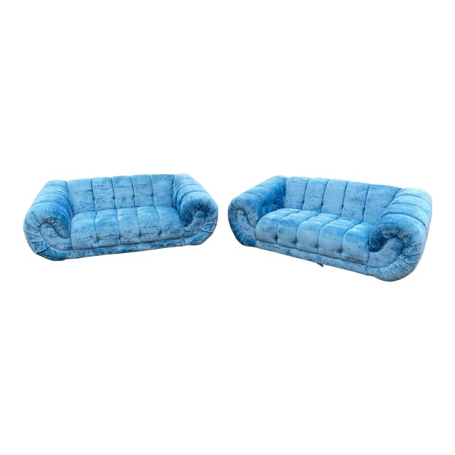 1970s Hollywood Regency Tufted Curved Sofas - a Pair For Sale