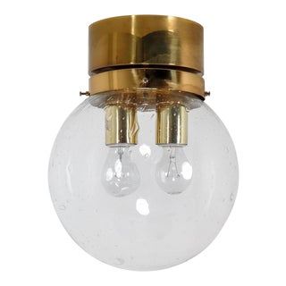 Mid Century Ceiling Light With Brass Frame and Hand Blown Glass Globe, 1960s For Sale