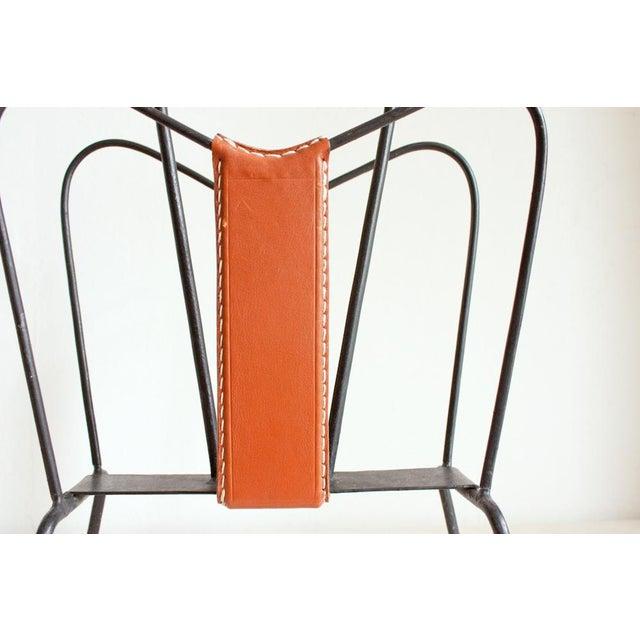 Vintage Leather & Iron Jacques Adnet Style Magazine Holder - Image 3 of 5