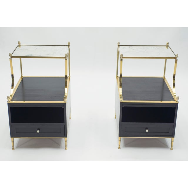 Maison Charles Rare Pair of French Maison Charles Brass Mirrored End Tables 1950s For Sale - Image 4 of 13