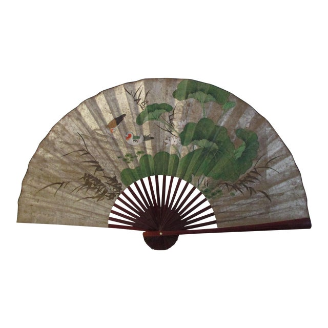 1980s Japanese Hand-Painted Paper & Wood Wall Fan For Sale