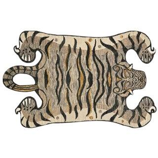 Silver Decorate Wild Animal Design Handcuffed Area Rug - 4′ × 6′ For Sale