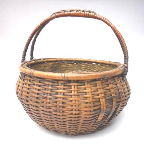 Japanese Japanese Bamboo Basket Ikebana Flower Antique Vase Flower Sumikago For Sale - Image 3 of 13