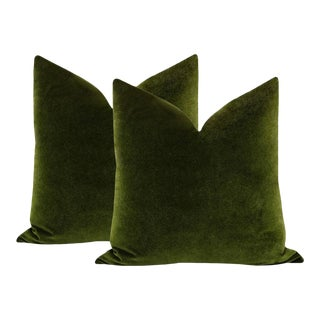 "22"" Olive Velvet Pillows - a Pair"