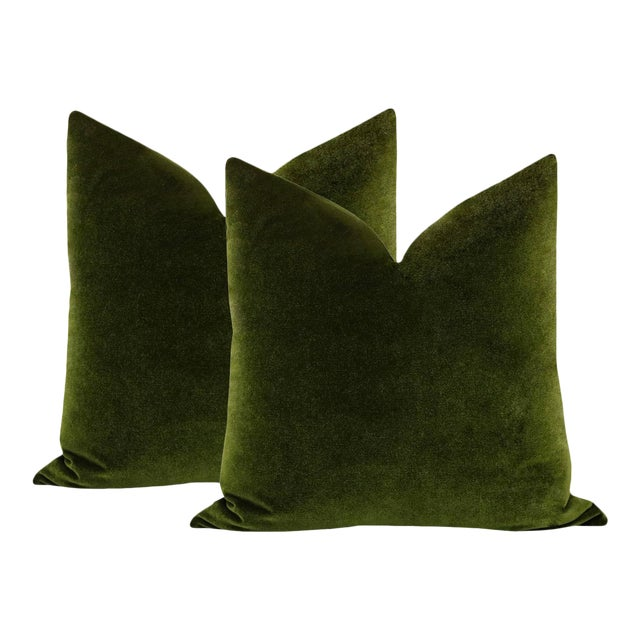 "22"" Olive Velvet Pillows - a Pair For Sale"