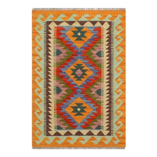 1990s Tribal Turkish Kilim Trenton Rust/Blue Hand-Woven Rug For Sale