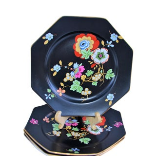 1920s Antique Art Deco Black and Floral Plates - Set of 4 For Sale