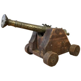 Brass Lantaka Cannon From South East Asia on Custom Wood Carriage, Circa 1900 For Sale
