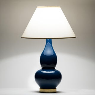 Casa Cosima Double Gourd Table Lamp, Prussian Blue/Ivory Shade Preview