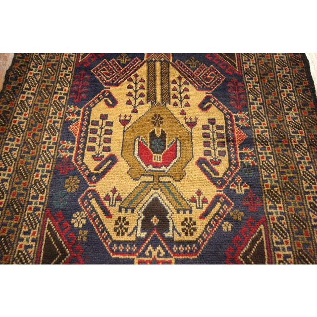 "Navy Blue Tribal Afghan Balouch Rug - 3'1"" x 9'2"" - Image 5 of 8"