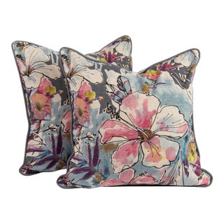 """22"""" Floral Watercolor Pillows in Linen, Pair For Sale"""