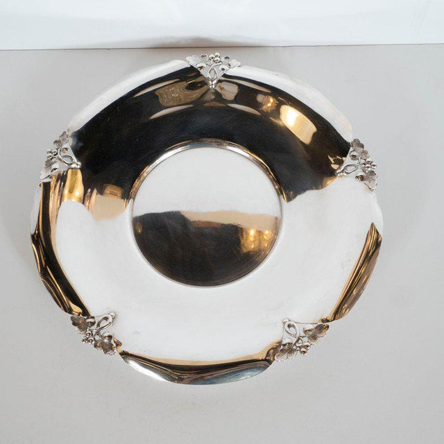 Art Deco Mid-Century Sterling Silver Decorative Dish With Foliate Tray by j.e. Caldwell Co For Sale - Image 3 of 9