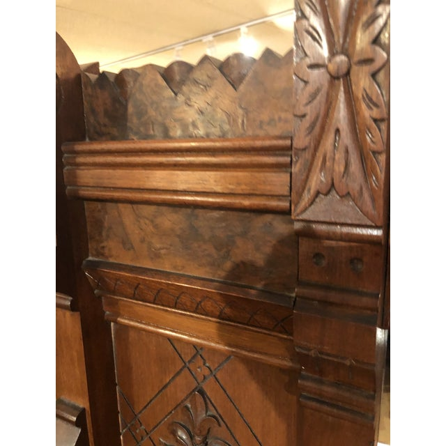 Brown Antique Victorian Buffet With Burlwood and Marble Top For Sale - Image 8 of 12