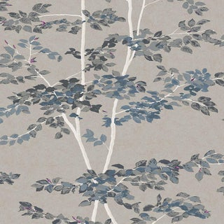 "Lewis & Wood Beech Steel Extra Wide 52"" Wallpaper Botanic Style Wallpaper Sample For Sale"