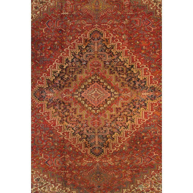 Original Persian Antique. Heriz Family. Lamb's Wool on a Cotton Foundation. Hand-Spun Wool Rug. Vegetable Dyed. Circa 1960
