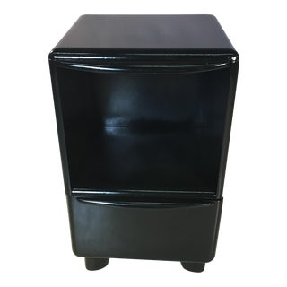 Heywood-Wakefield Black Lacquered Nightstand For Sale