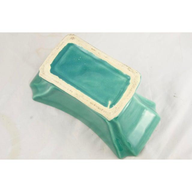 Ceramic Mid 20th Century Aqua Green Rectangular Planter For Sale - Image 7 of 8