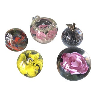 Murano Style Glass Paperweights** - Set of 5 For Sale