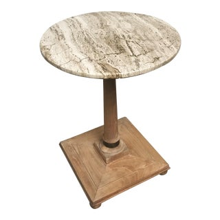 1960s Mid Century Modern Bleached Mahogany, Brass & Travertine Side Table For Sale