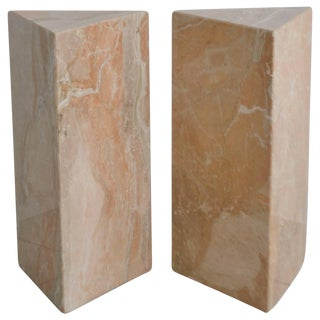 Pair of Postmodern Marble Triangular Form Pedestals For Sale