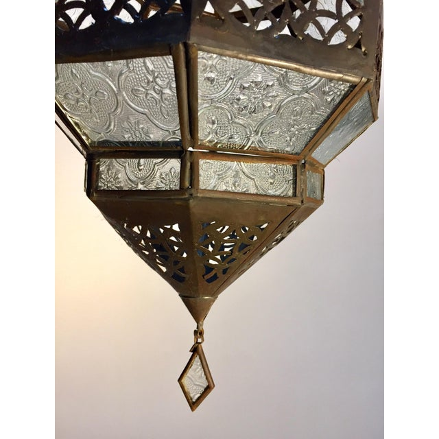 Transparent Handcrafted Moroccan Metal and Clear Glass Lantern, Octagonal Shape For Sale - Image 8 of 12