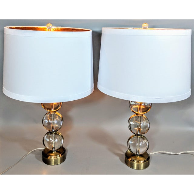Mid-Century Modern Global Views Crystal Ball Lamp in Brass With Linen & Gold Lined Shade - a Pair For Sale - Image 3 of 13