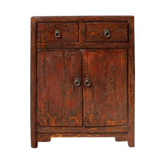 Oriental Chinese Distressed Brown Side Table Cabinet For Sale