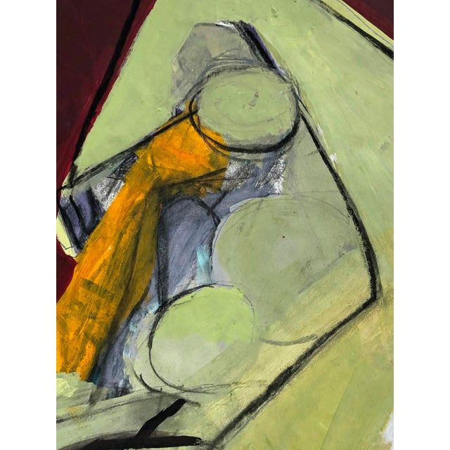 Abstract Contemporary Abstract Cubist Nude Figure Mixed Media Painting on Paper For Sale - Image 3 of 4