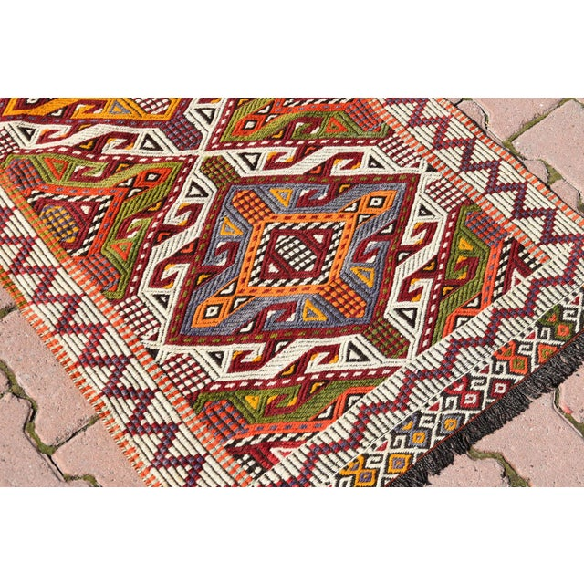 Anatolian Tribal Embroidered Kilim Area Rug -2′6″ × 3′10″ - Image 4 of 6