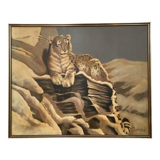 Monumental Vintage Leopard Painting