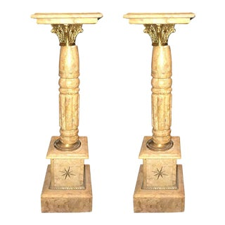 Pair of Antique Pedestals or Columns Marble with Bronze Mounts