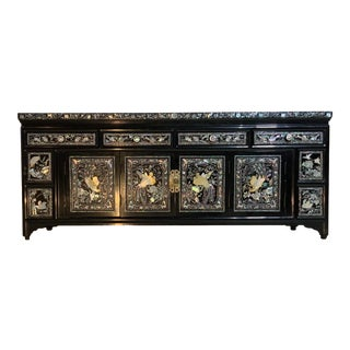 Vintage Chinese Black Lacquer One Side Coffee Table For Sale
