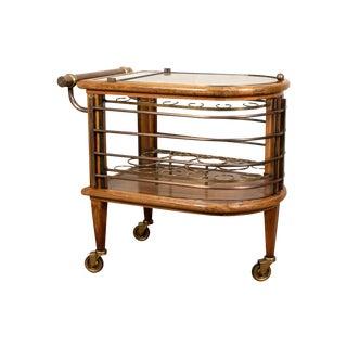 Vintage Walnut and Bronze Bar Cart For Sale