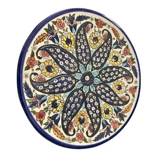 Vintage Blue Floral Hand Painted Plate From Mexico For Sale