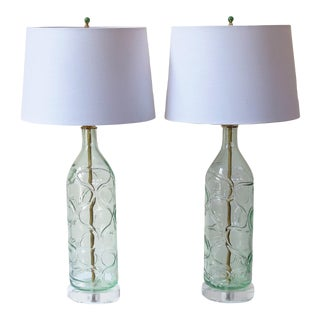 Tall Retro Wavy Blown Glass Lamps With Shades by C. Damien Fox For Sale