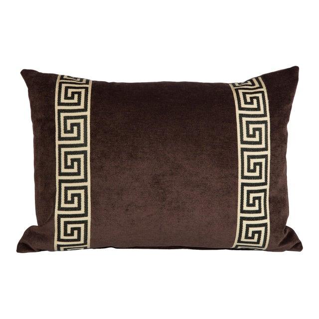 Eggplant Velvet Greek Key Lumbar Pillow For Sale