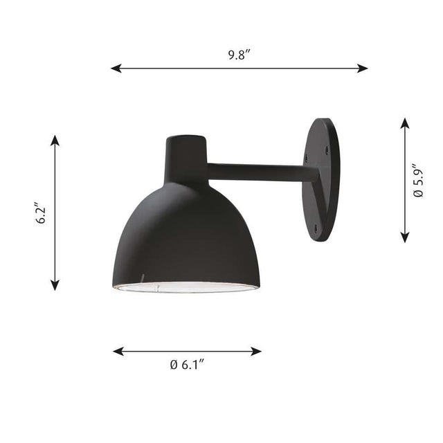Mid-Century Modern Louis Poulsen 'Todbold' Outdoor Wall Light in Black For Sale - Image 3 of 5