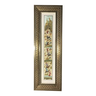 "Original Vintage Persian Khatamkari Inlay Frame ""Hunting"" Hand Painted Miniature Painting For Sale"