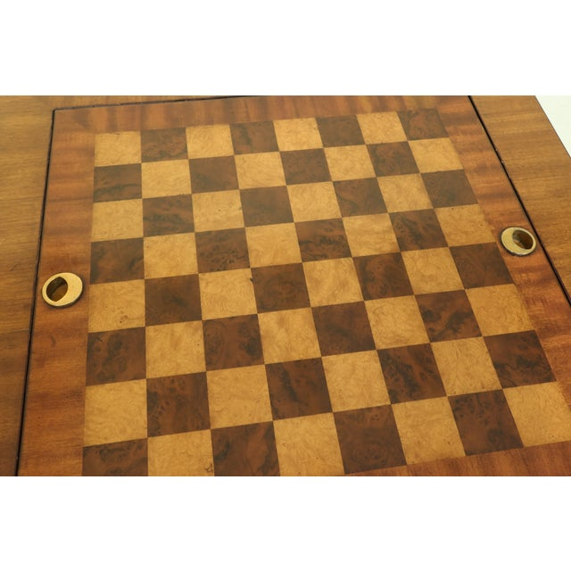 Traditional Maitland Smith Square Mahogany Games Table W. Reversible Top For Sale - Image 3 of 12