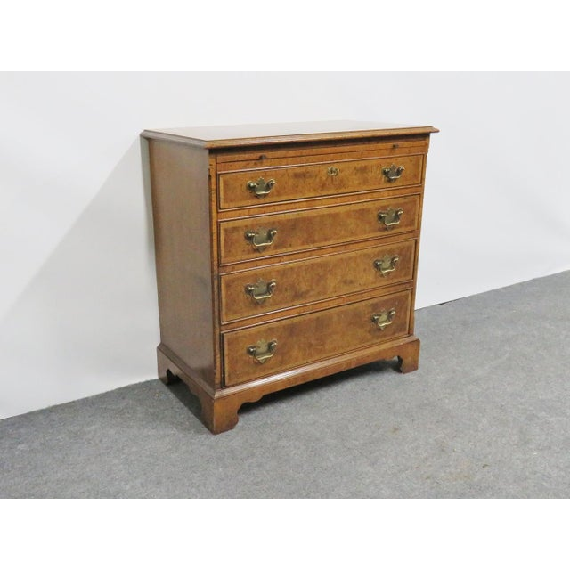 Brown Baker Chippendale Burl Walnut Bachelor Chest For Sale - Image 8 of 8