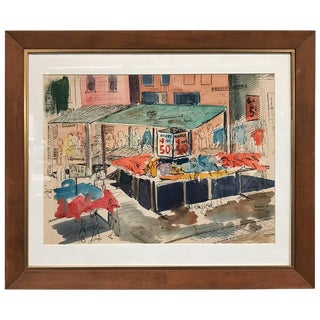 Watercolor of Maxwell Street in Chicago