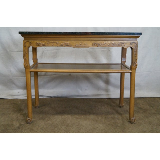 Baker Furniture Carved Teak Chinese Style Granite Top Console Table - Image 4 of 10