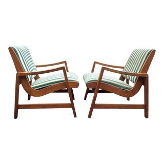 Early Jens Risom Knoll Associates Lounge Chairs - A Pair For Sale