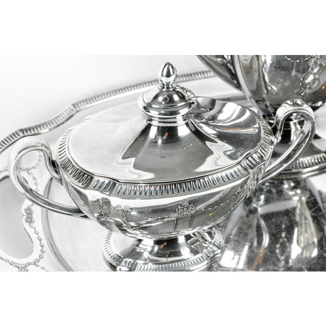 1920s Silver Plate USA Tea & Coffee Set of 4 For Sale - Image 5 of 9