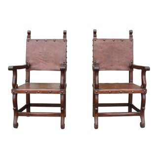 Peruvian Highback Side Chairs - A Pair