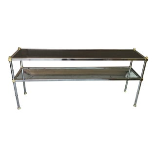 Maison Jansen Style Chrome and Brass Entry Table For Sale